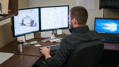 ahaus employee working on computer